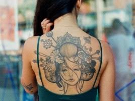 Desenhos de Tatuagens de Gueixa Femininas