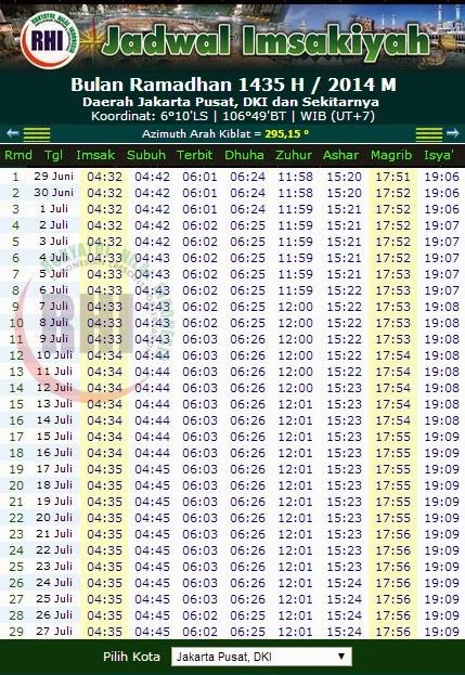 Jadwal Puasa Ramadhan 1435 H / 2014 M