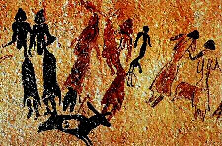 """Panel principal de la Cueva de Cogull o """"Roca dels Moros"""". Fragmento. Cogull. Lérida"""