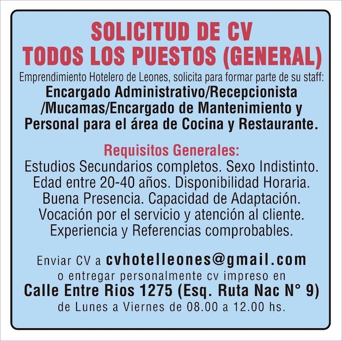 ESPACIO PUBLICITARIO: BUSQUEDA DE PERSONAL
