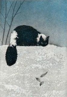 Väinö Rouvinen illustration of a cat  playing in the snow