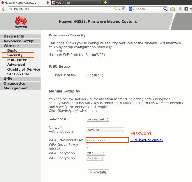 Setting Password Wireless