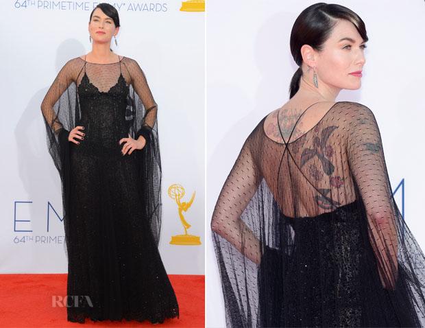 Lena Headey vestido Armani Privé Emmy 2012