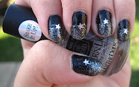Silver and black glitter gradient with stars