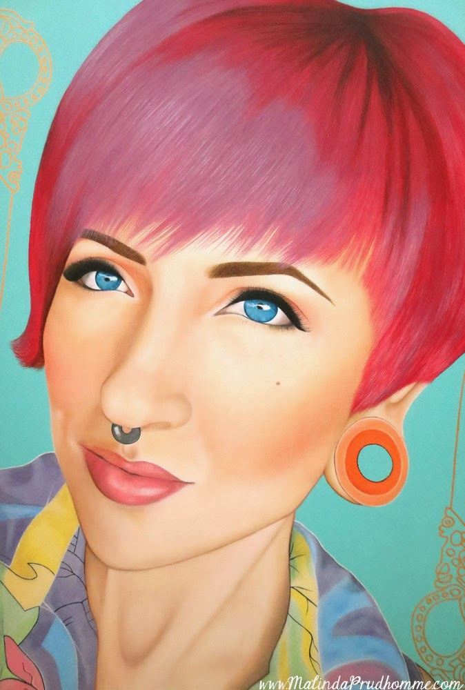 pink hair, hair stylist, jerica wentzell, beauty art, true beauty, malinda prudhomme, portrait art, toronto portrait artist, realism, portrait painting, canadian artist, realistic portraiture