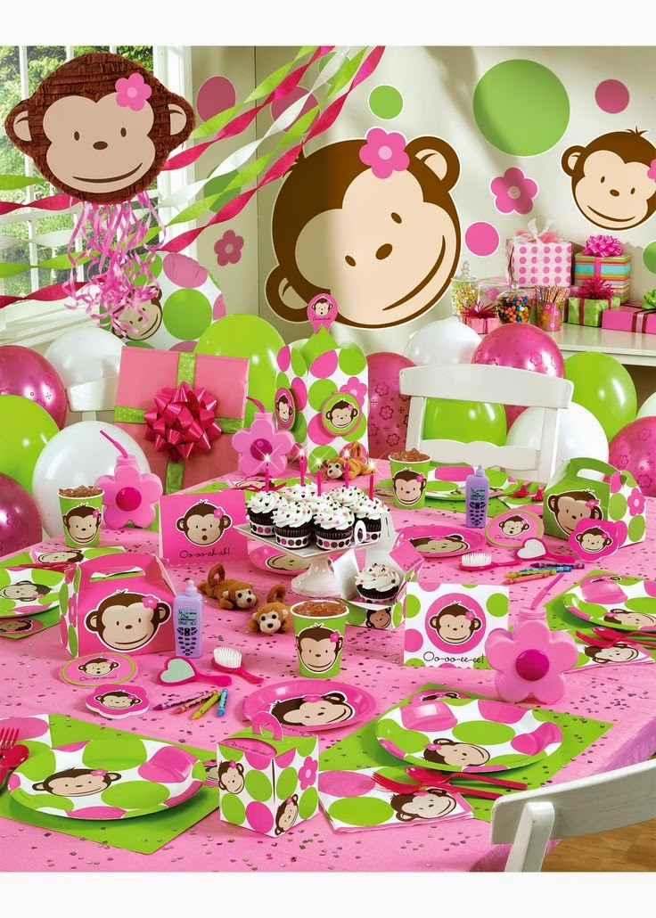 Pink Monkey First Birthday Theme for Girls