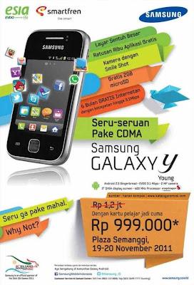 harga Samsung Galaxy Y (Young) CDMA launching Surabaya Bandung Jakarta