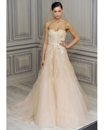 Couture bridal designs summer colors wedding dresses for Monique lhuillier pink wedding dress