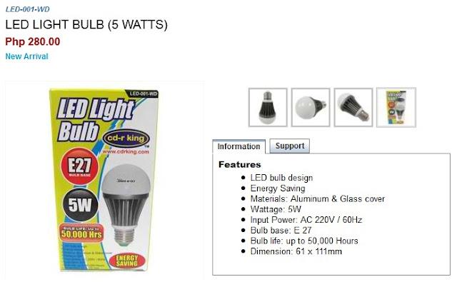 cd r king led light bulb led 001 wd 50 000 hours of bulb life for just php280 only ilonggo. Black Bedroom Furniture Sets. Home Design Ideas