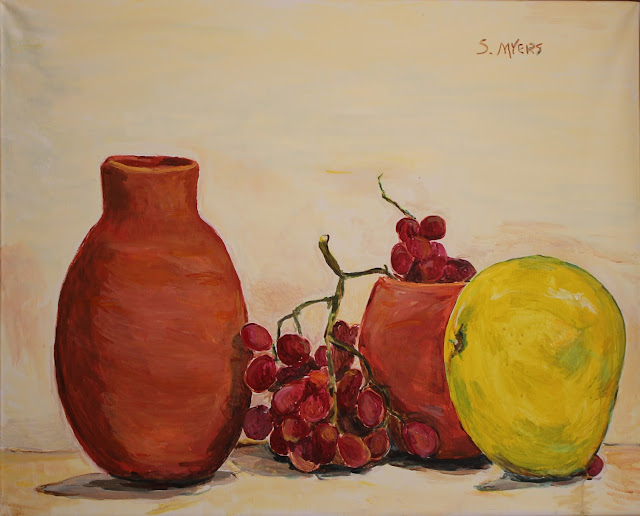 Still-life, pottery, grapes, fruit, pumello, red, earthenware, green, yellow, hand-built, ceramic, art, painting, sarah, myers, acrylic, arte, pintura, natura, morte, large, canvas, food, modern, brushstrokes, chartreuse, grapefruit, quiet