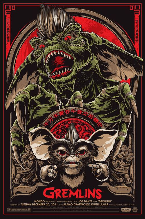 Ken Taylor illustrations movie posters silkscreen Gremlins