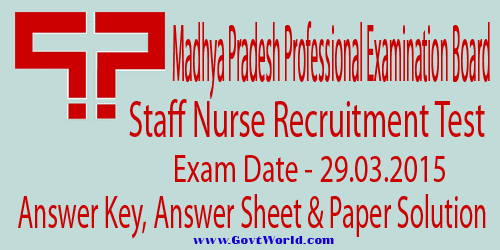 MP Vyapam Staff Nurse Answer Key 2015