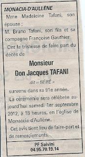 Décès Tafani Don Jacques