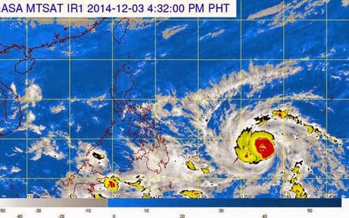 Ảnh vệ tinh cơn bãn Hagupit ngày 3/12 (ảnh: Manila Bulletin)