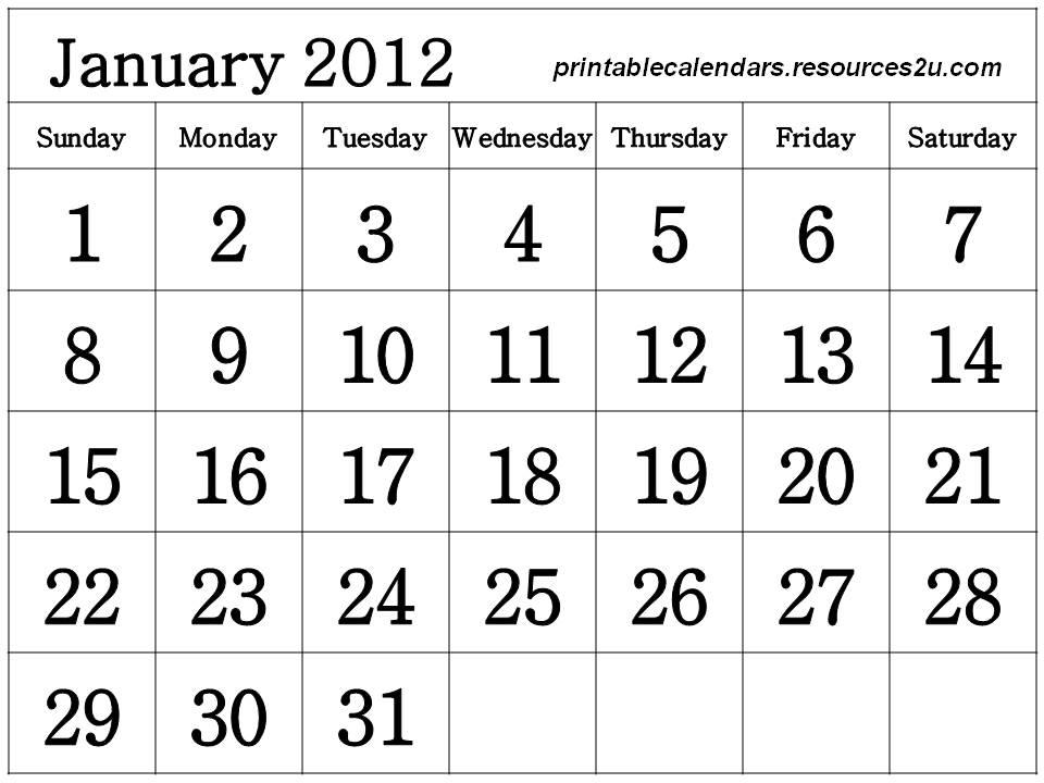 January 201 Calendar Printable