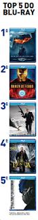 1º - Batmam Begin; <br>2º - Homem de Ferro; <br>3º 007 - Quantum of Solage; <br>4º - A lenda; 5º - Transformers