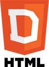 HTML5 logo mocked up as DHTML logo.