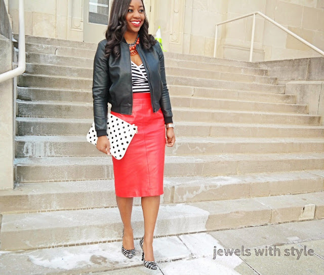 red leather skirt, leather skirt outfit ideas, red skirt, polka dot purse, jewels with style, black fashion blogger, black and white outfit