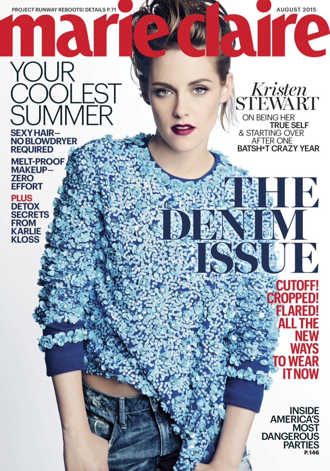 Kristen Stewart is bold and glamorous for Marie Claire US August 2015