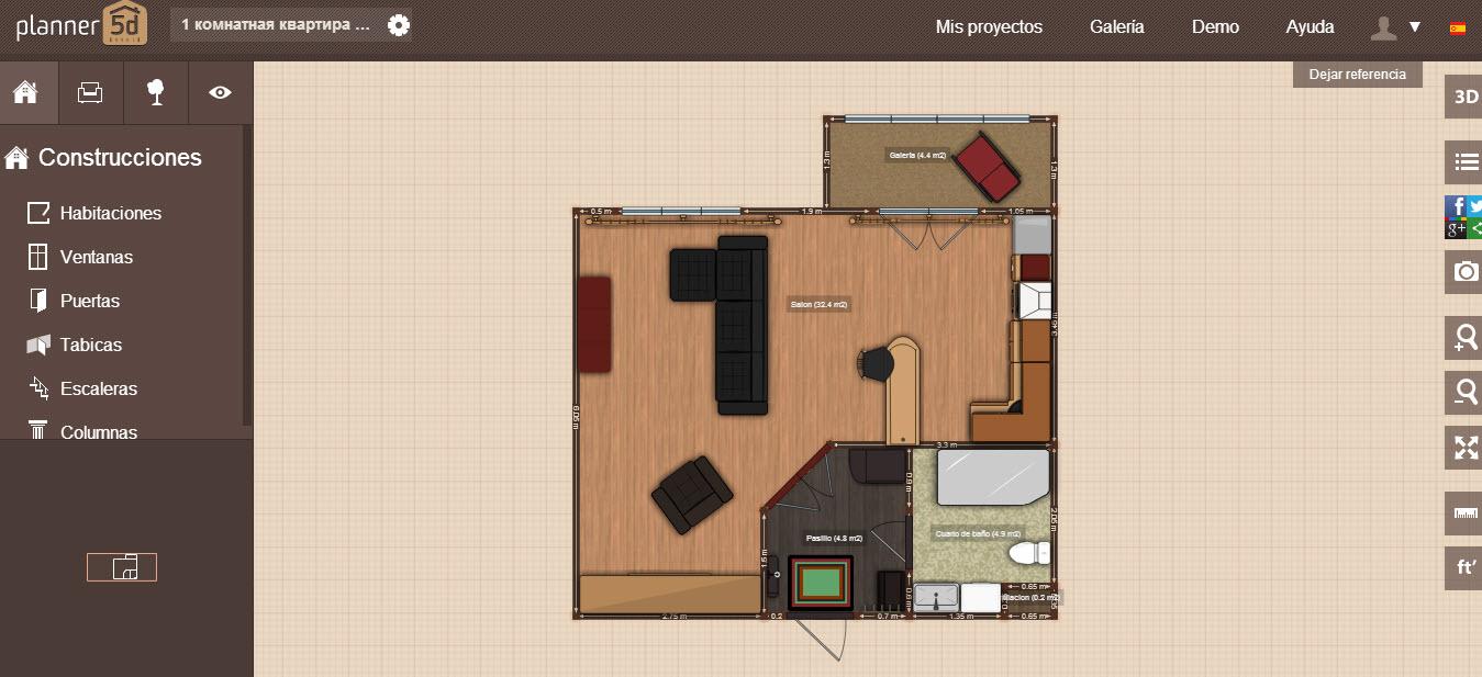 Hacer planos online con planner 5d construye hogar for Disenar habitaciones online 3d