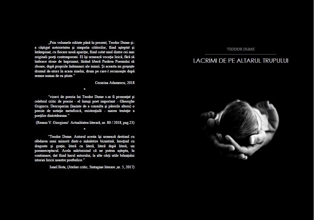 Teodor Dume,carte:Lacrimi de pe altarul trupului, editura Pim,2018