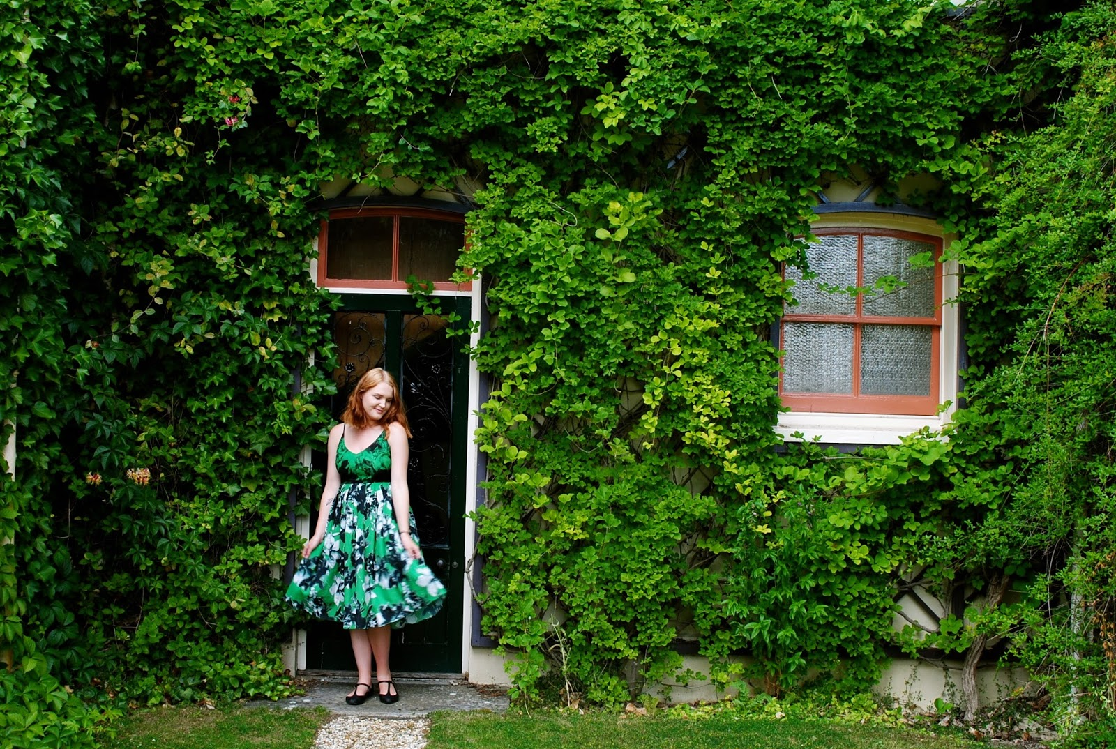 Charles Darwin's  Downe House Garden wearing Shakuhachi photogenic midi green dress
