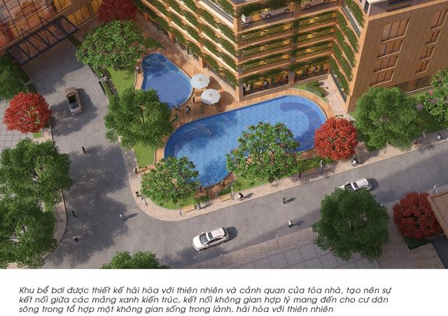 Phối cảnh bể bơi trong tòa nhà chung cư The Golden An Khánh 32T