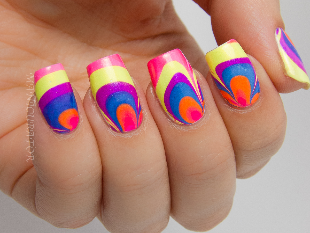 Color Club-Poptastic-Neon-Watermarble-Nail-art