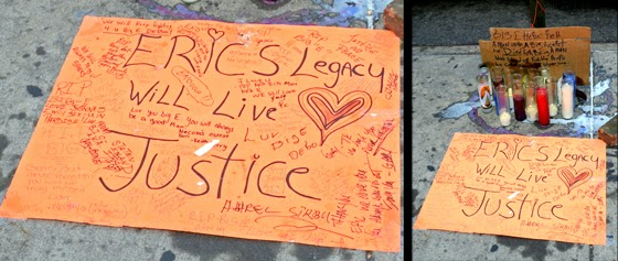 Sidewalk memorial at the site of Eric Garner's murder by police in Staten Island, NY.