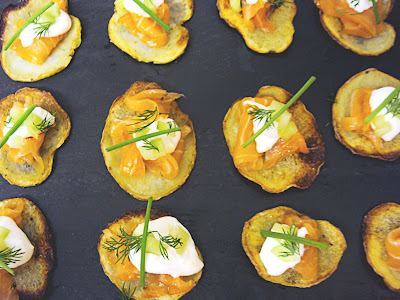 ... Snob: Homemade potato chips with smoked salmon and creme fraiche
