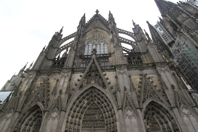 More details of the exterior design of Cologne Cathedral in Cologne, Germany