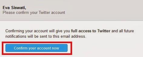 konfirmasi pendaftaran twitter pada email