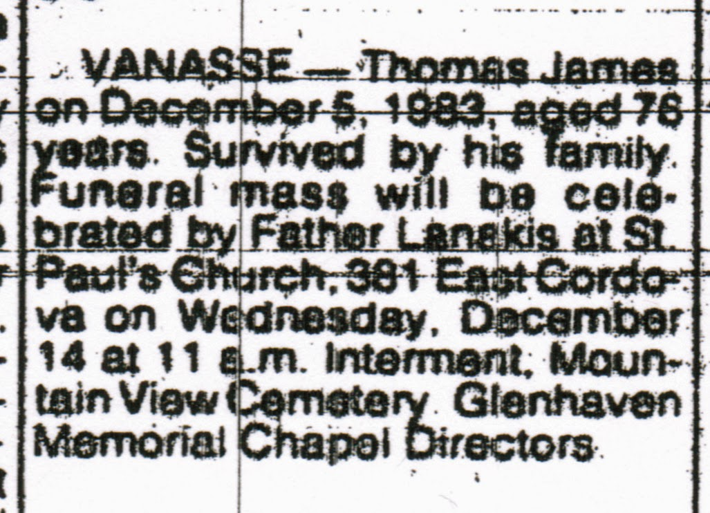 Obituary of Thomas Vanasse