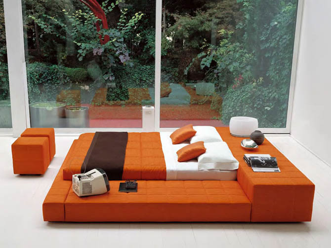 Modern Big Double Bed Furniture Design Squaring Penisola from Bonaldo