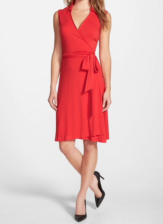 Vince Camuto Sleeveless Wrap Jersey Dress