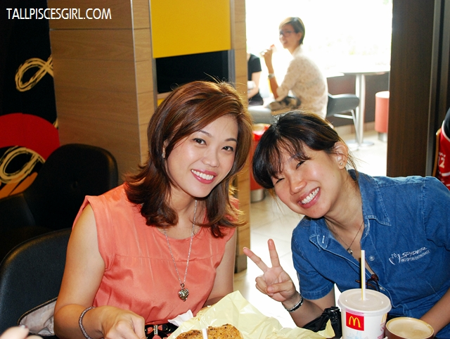 Happy people at McDonald's: Kelly and Evelyn