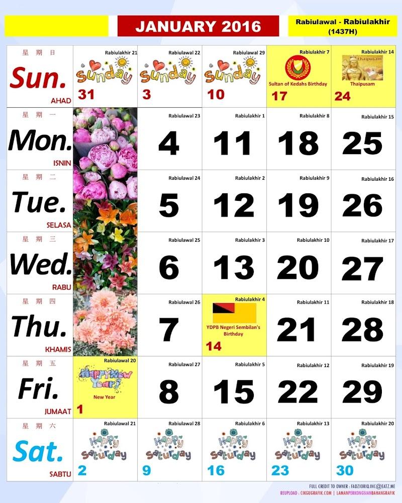 Kalendar Kuda 2016 Untuk Dimuatturun