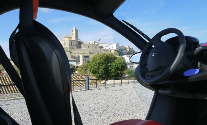 Ibiza's old town viewed through the Twizy 45