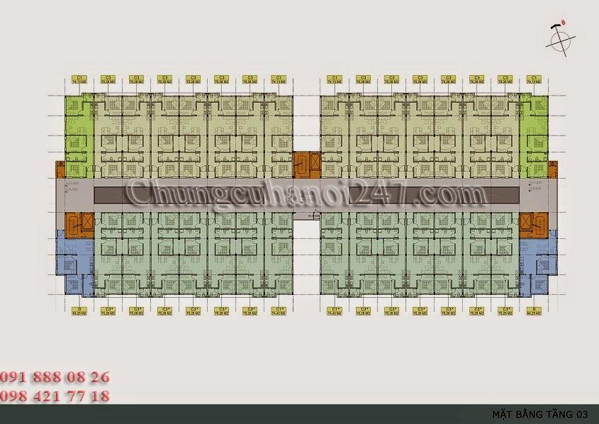 mặt bằng thiết kế tầng 3 chung cư thanh hà cienco 5 hà đông