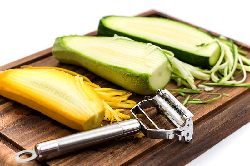 Making Zucchini noodles Zoodles peeler