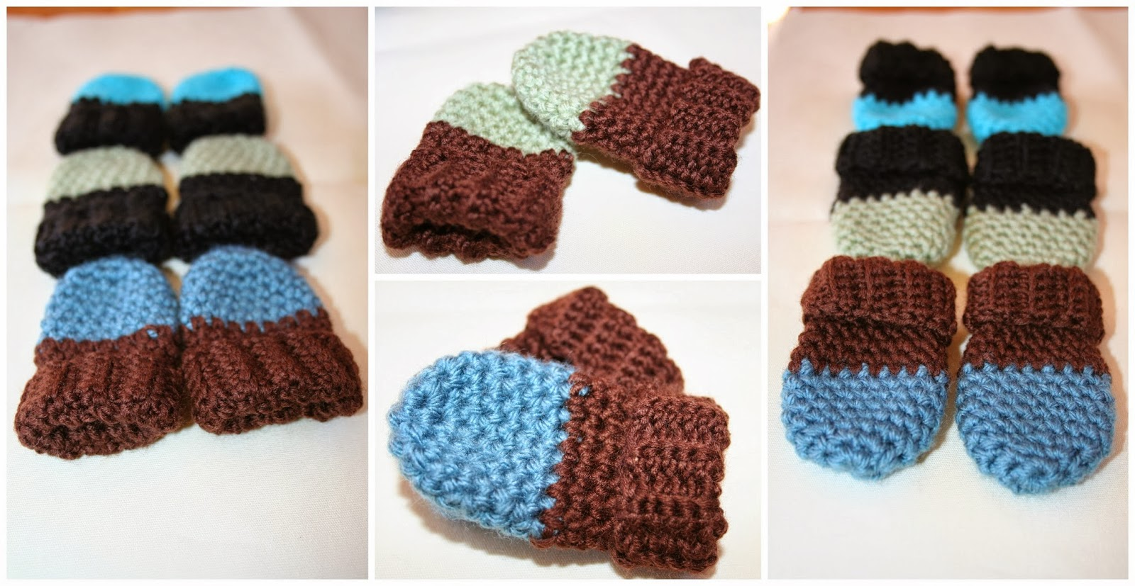 Colour block baby mittens by Phonechay