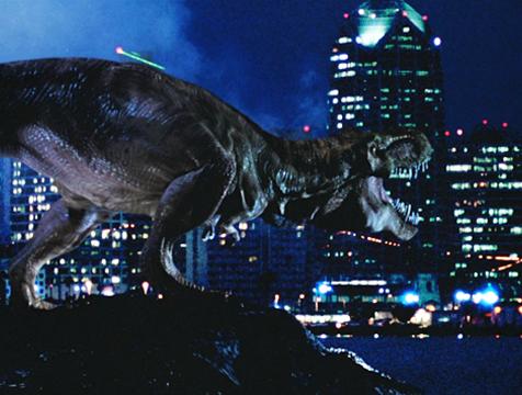 El Tyrannosaurus rex llega a San Diego en El mundo perdido. Jurassic Park - Cine de Escritor