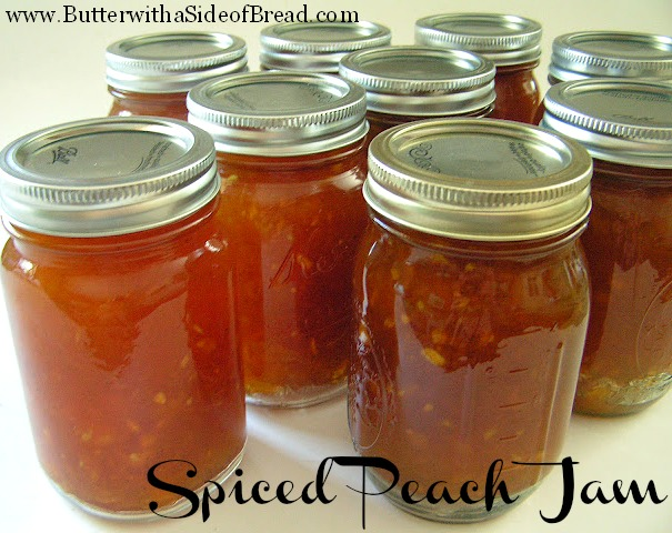Spiced Peach Jam Butter with a Side of Bread