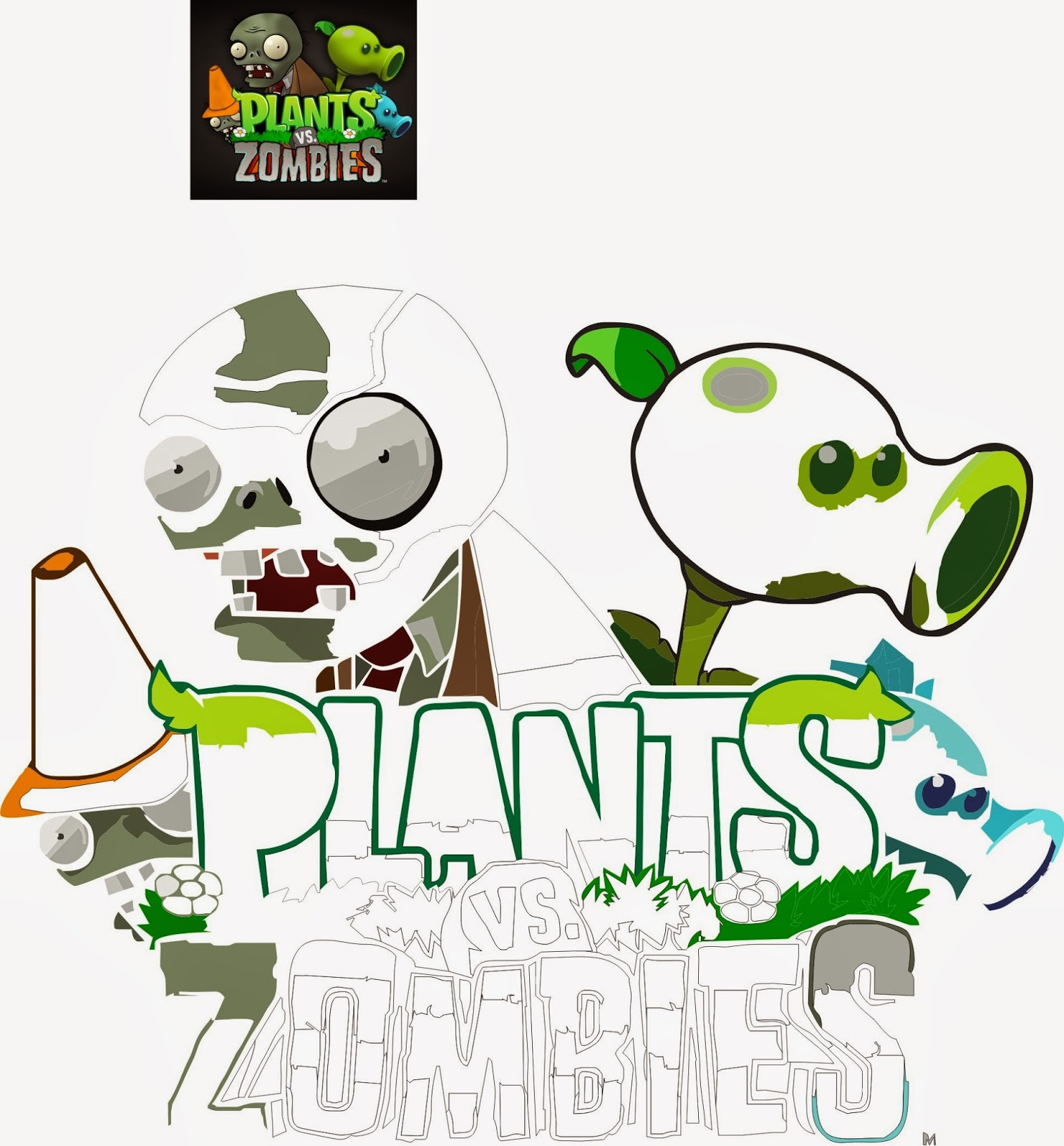 BORDERS FOR KID: DIBUJOS PARA COLOREAR PLANTAS VS ZOMBIES
