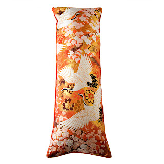 Orange Kimono Luxe Upcycled Vintage Cushion by Hunted and Stuffed