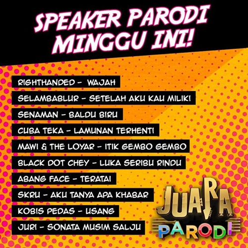 Juara Parodi 2015 minggu 4, tonton online Juara Parodi 2015 minggu 4, gambar Juara Parodi 2015, lagu tugasan peserta Juara Parodi minggu keempat, Abang Face pemenang Juara Parodi 2015 minggu 4