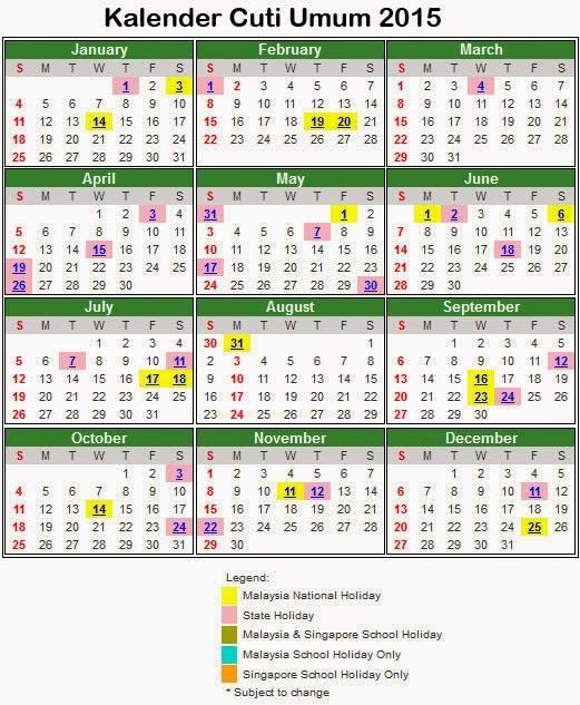 Kalendar Cuti Umum 2015 Malaysia