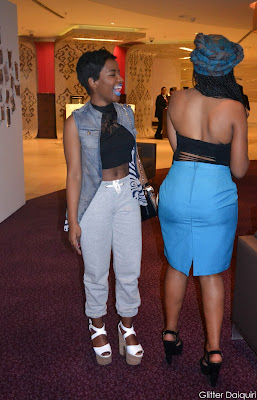glitter daiquiri, teenagers, safw 2014, south african fashion week 2014, platforms, topshop stacked heels, lace crop top, sweat pants, denim jacket, cotton on heels, rubi shoes, turban, micro braids