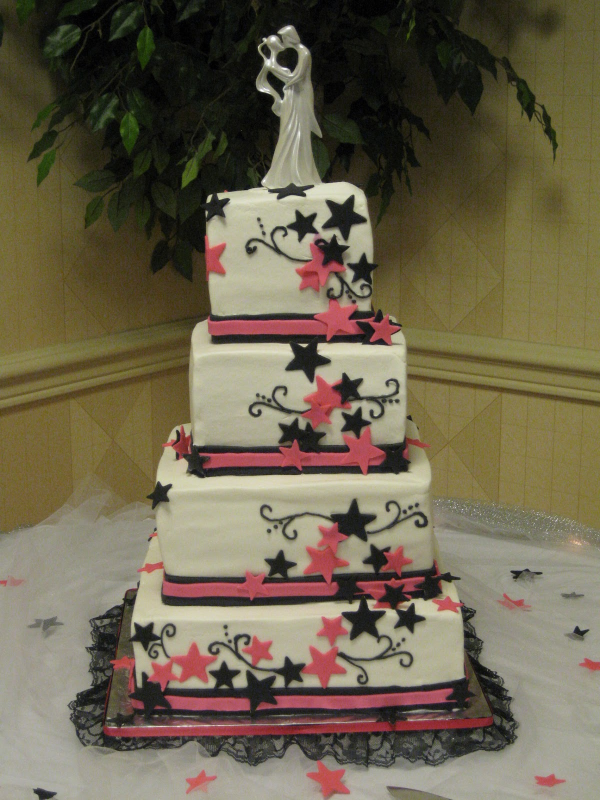 D s Cookie Jar & More Hot Pink and Black Wedding cake