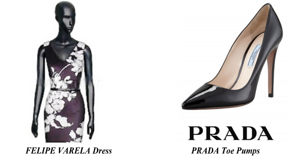 Queen Letizia's FELIPE VARELA Dress PRADA Toe Pump